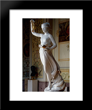 Hebe: Modern Black Framed Art Print by Antonio Canova