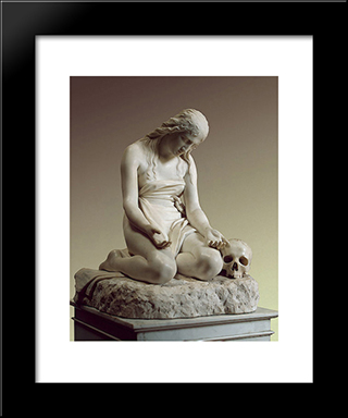 The Repentant Mary Magdalene: Modern Black Framed Art Print by Antonio Canova