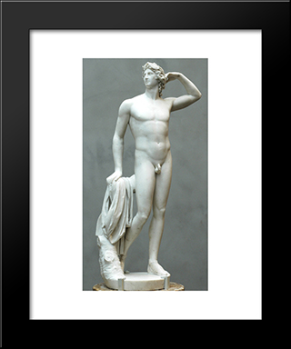 Apollo Crowning Himself: Modern Black Framed Art Print by Antonio Canova