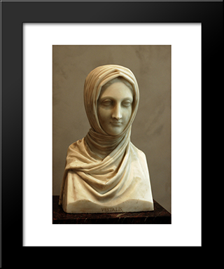Bust Of A Vestal Virgin: Modern Black Framed Art Print by Antonio Canova