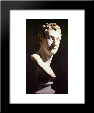 Portrait Of Leopoldo Cicognara: Modern Black Framed Art Print by Antonio Canova