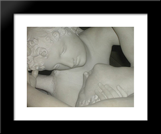 Cupid And Psyche [Detail #1]: Modern Black Framed Art Print by Antonio Canova