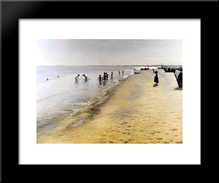 D­a De Verano En Skagen: Custom Black Wood Framed Art Print by Peder Severin Kroyer