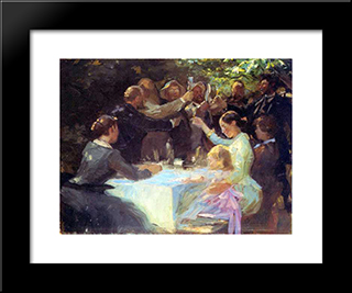 Study For Hip, Hip Hurra!: Modern Black Framed Art Print by Peder Severin Kroyer