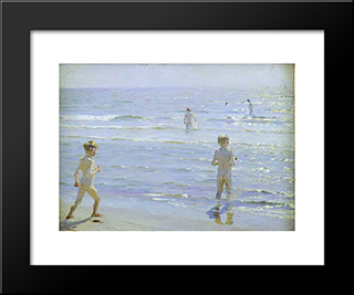 Bano De Muchachos: Modern Black Framed Art Print by Peder Severin Kroyer