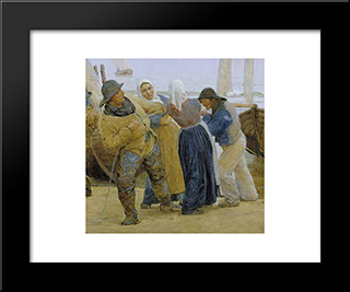 Pescadores De Hornbaek: Modern Black Framed Art Print by Peder Severin Kroyer