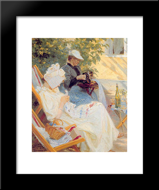 Marie Y Su Madre En El Jard­n: Custom Black Wood Framed Art Print by Peder Severin Kroyer