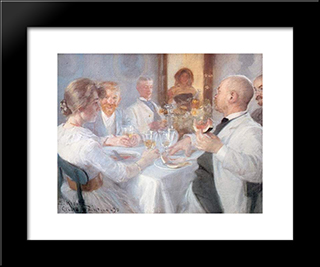 Comida En Antino: Modern Black Framed Art Print by Peder Severin Kroyer