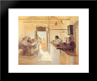 Taberna En Ravello: Modern Black Framed Art Print by Peder Severin Kroyer