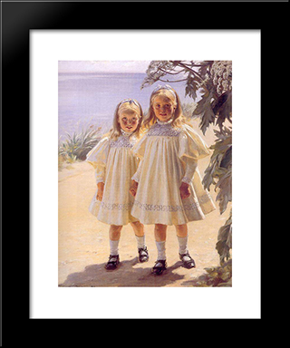 Hermanas Bentzon: Modern Black Framed Art Print by Peder Severin Kroyer