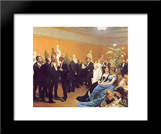 Encuentro En El Museo: Modern Black Framed Art Print by Peder Severin Kroyer