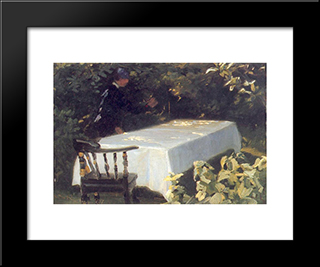 Mesa En El Jard­n: Custom Black Wood Framed Art Print by Peder Severin Kroyer