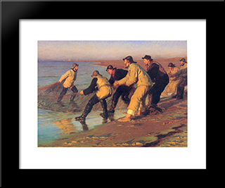 Pescadores En La Playa: Modern Black Framed Art Print by Peder Severin Kroyer