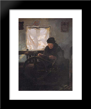Anciana En La Rueca: Modern Black Framed Art Print by Peder Severin Kroyer