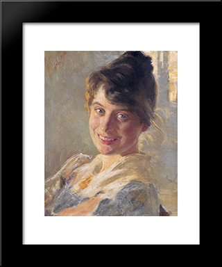 Marie Kroyer: Modern Black Framed Art Print by Peder Severin Kroyer