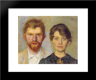 Retrato Del Matrimonio: Modern Black Framed Art Print by Peder Severin Kroyer