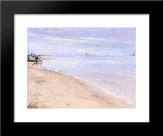 Playa De Skagen: Modern Black Framed Art Print by Peder Severin Kroyer