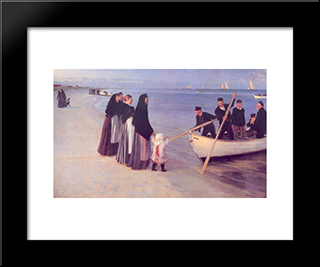 Pescadores En Skagen: Modern Black Framed Art Print by Peder Severin Kroyer