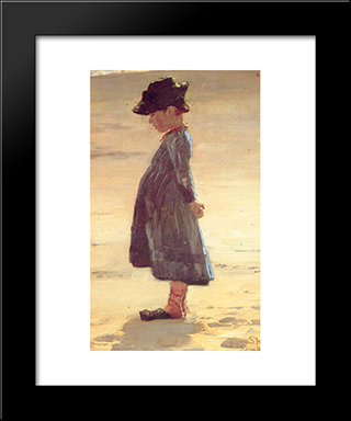 Nina En La Playa: Modern Black Framed Art Print by Peder Severin Kroyer