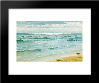 Mar En Skagen: Modern Black Framed Art Print by Peder Severin Kroyer