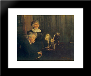 Nina Y Edvard Grieg: Modern Black Framed Art Print by Peder Severin Kroyer