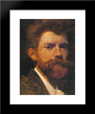 Autorretrato: Modern Black Framed Art Print by Peder Severin Kroyer