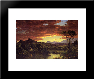 A Country Home: Modern Black Framed Art Print by Frederic Edwin Church