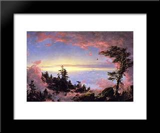 Above The Clouds At Sunrise: Modern Black Framed Art Print by Frederic Edwin Church