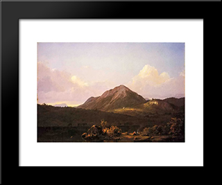 Camp Fire In The Maine Wilderness: Modern Black Framed Art Print by Frederic Edwin Church