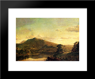 Figures In A New England Landscape: Modern Black Framed Art Print by Frederic Edwin Church