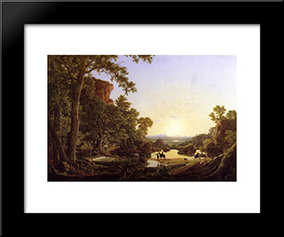 Hooker And Company Journeying Through The Wilderness From Plymouth To Hartford, In 1636: Modern Black Framed Art Print by Frederic Edwin Church
