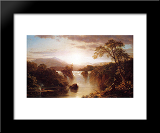 Landscape With Waterfall: Modern Black Framed Art Print by Frederic Edwin Church