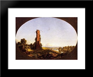 New England Landscape With Ruined Chimney: Modern Black Framed Art Print by Frederic Edwin Church