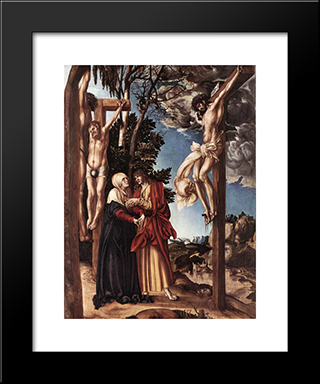 Crucifixion: Modern Black Framed Art Print by Lucas Cranach the Elder