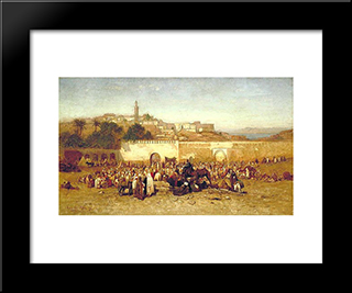 Market Day Outside The Walls Of Tangiers, Morocco: Modern Black Framed Art Print by Louis Comfort Tiffany