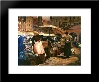 Market Day At Nuremberg: Modern Black Framed Art Print by Louis Comfort Tiffany
