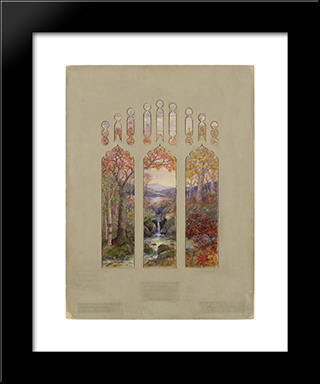 Design For Autumn Landscape Window: Modern Black Framed Art Print by Louis Comfort Tiffany