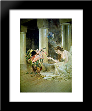 Feeding The Flamingos: Modern Black Framed Art Print by Louis Comfort Tiffany