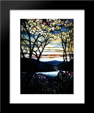 Magnolias And Irises: Modern Black Framed Art Print by Louis Comfort Tiffany