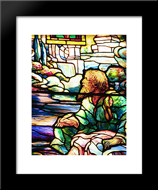 St John'S Vision On Patmos: Modern Black Framed Art Print by Louis Comfort Tiffany
