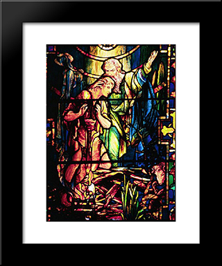 Abraham And Isaac: Modern Black Framed Art Print by Louis Comfort Tiffany