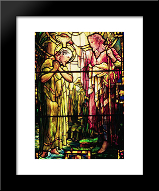 The Baptism Of Jesus: Modern Black Framed Art Print by Louis Comfort Tiffany