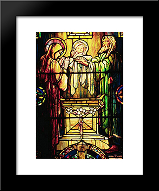 The Dedication In The Temple: Modern Black Framed Art Print by Louis Comfort Tiffany