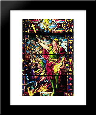 Gideon'S Rout Of The Midianites: Modern Black Framed Art Print by Louis Comfort Tiffany