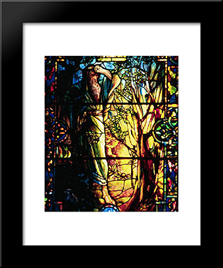 Moses And The Burning Bush: Modern Black Framed Art Print by Louis Comfort Tiffany