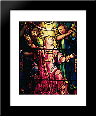 The Stoning Of Stephen: Modern Black Framed Art Print by Louis Comfort Tiffany