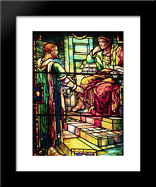 Paul Before Agrippa: Modern Black Framed Art Print by Louis Comfort Tiffany