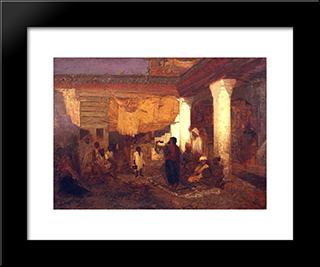 Snake Charmer At Tangier, Africa: Modern Black Framed Art Print by Louis Comfort Tiffany