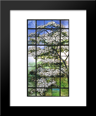 Dogwood: Modern Black Framed Art Print by Louis Comfort Tiffany