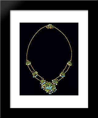 Necklace: Modern Black Framed Art Print by Louis Comfort Tiffany